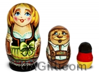 , German souvenir - Matryoshka doll 3pcs - German family with 2 beers II